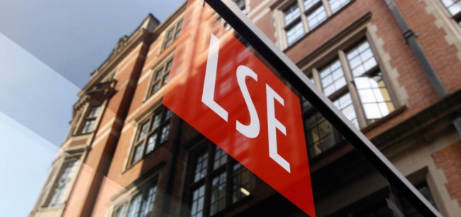 New signage on the rear entrance to LSE 32 Lincoln's Inn Fields in Portugal Street