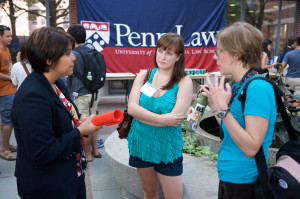Incoming Penn Law School students go through a day of orientation at campus.  Events included lectures, question-and-answer sessions and meetings with club organizers.