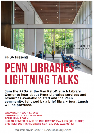 Flyer for Penn Libraries PPSA event