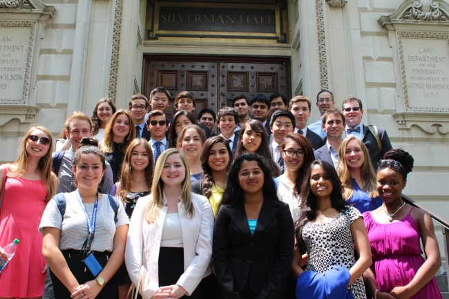 Pre-College Summer Academy on the steps of the Law School, 2014