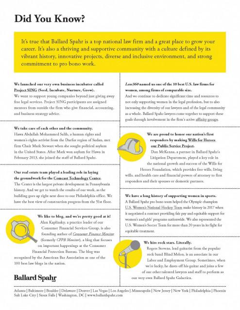 Ballard Spahr: Did You Know? • Penn Law