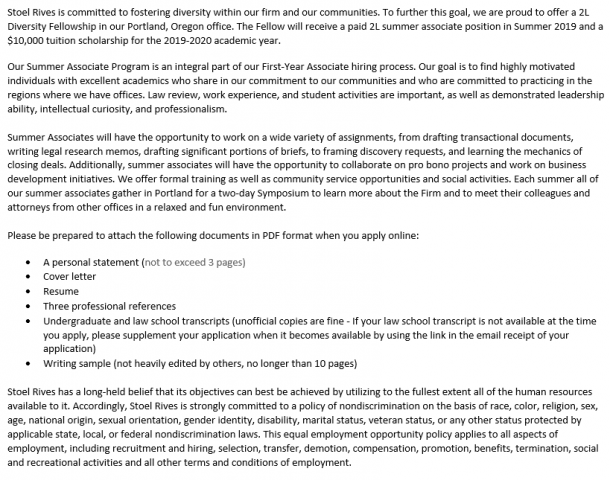 Stoel Rives: 2L Diversity Fellowship (Portland, OR) • Penn Law