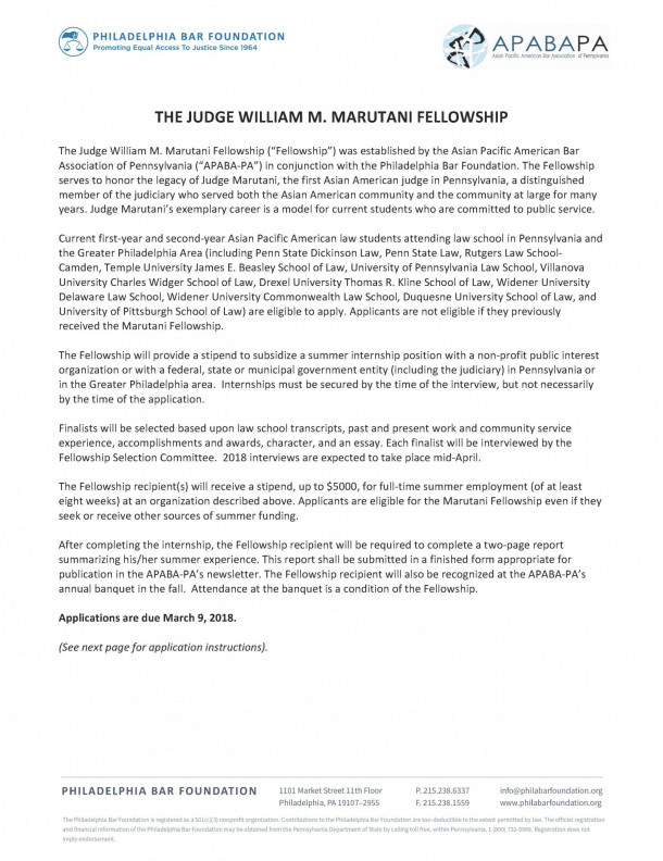 Philadelphia Bar Foundation The Judge William M Marutani