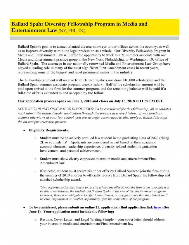 Ballard Spahr 2L Diversity Fellowship • Penn Law