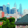 Philadelphia skyline from Penn Law's campus