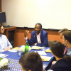 Philadelphia City Solicitor Sozi Pedro Tulante (center) discusses his career in government with P...