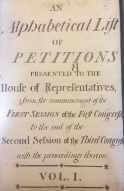 Figure 1. Petition docket book cover — first congress to third congress, 1789.