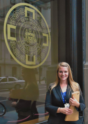 Alisan VanFleet L '13 pictured in front of the District Attorney's Office.