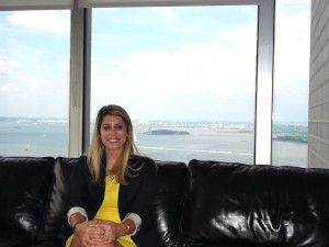Leventhal in the Sullivan & Cromwell associate lounge overlooking the Statue of Liberty.