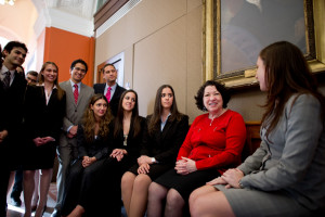 LALSA students gathered round Sonia Sotomayor, first Latino on the Supreme Court, after Golkin Hall dedication.