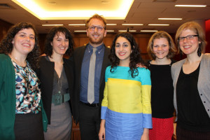 Penn Law's 2013 public interest fellows, (from left to right) Joline Price L'12, Valerie Baron L'12, Asher Levinthal, L'13, Shikha Bhattacharjee L'13, Kathleen Norland L'13, and Liz Booth L'13.