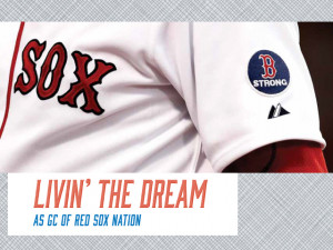 Boston Red Sox sport the new B Strong logo in commemoration of the Boston Marathon bombings. Ed Weiss L'91 helped develop the logo. The Fenway Group is using the logo as a vehicle to drive donors to The One Fund, established by Boston Mayor Thomas Menino and Massachusetts Gov. Deval Patrick to raise funds for the victims of the bombing.