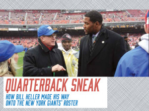 New York Giants General Counsel Bill Heller L'78 chats with former Giants star Michael Strahan on the sidelines of a Giants' game.