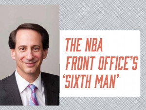 Bill Koenig L'87, NBA Executive Vice President and General Counsel, works to keep several (basket)balls in the air at once.