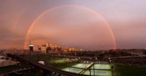 Double Rainbow over Penn Park, University of Pennsylvania. Photo by Scott Spitzer, Office of University Communications