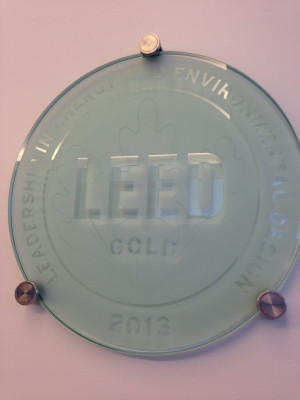 LEED Gold plaque in the Golkin Hall lobby.