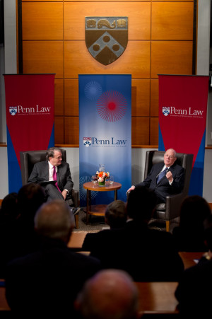 Dean Michael Fitts and Justice Kennedy during an alumni Q&A at Penn Law. View more photos from this event on  Flickr.