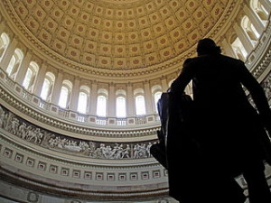 The interior of the United States Capitol rotunda taken from behind the statue of George Washington. © Matt H. Wade