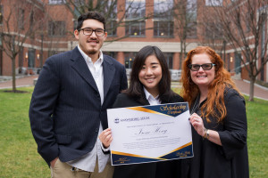 Irene Hong L'18 (center) is part of the BA/JD sub-matriculation program at Penn and is a JD/MSSP student.