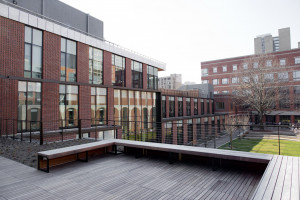 Photo from green roof deck overlooking connecting Golkin Hall, Silverman Hall, and Gittis Hall, overlooking Courtyard.