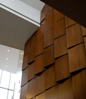 The Wood Feature Wall rises from the Berylson Family Lobby to the third floor of Golkin Hall's east wing.