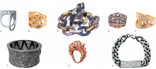 "A. Diamond Two Finger ""Charteris"" Ring B. Diamond ""Catacomb"" Ring C. Sapphire ""Cyd"" Bracelet D. Diamond ""Crazy Horse (Double)"" Ring E. Diamond ""Jaws"" Ring By Plukka F. White Sapphire ""Hera"" Cuff G. Diamond ""Tornado"" (Rose) Ring H. White Sapphire ""Karla"" Bracelet"