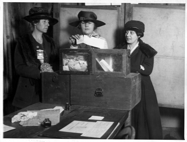 Three suffragists casting votes in New York City, c. 1917, Library of Congress