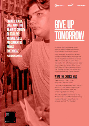 """Give Up Tomorrow"" was one of the 2013 finalists for the PUMA Impact Award."