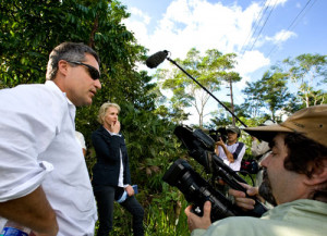 Filmmaker Joe Berlinger (right) films plaintiffs' attorney Steven Donziger in the Ecuadorian Amazon.
