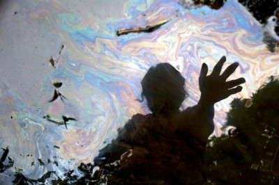 "A reflection in a stream in the Ecuadorean Amazon, from the film ""Crude."" (Credit: Juan Diego Pérez.)"
