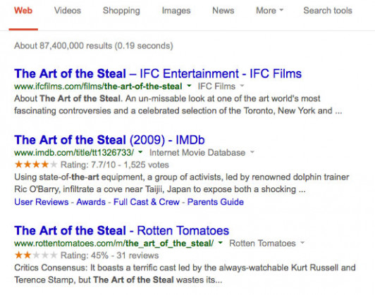 "The top search results for ""The Art of the Steal"" point to the documentary, but the Rotten Tomatoes score refers to the Hollywood version."