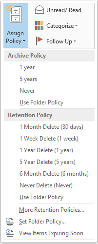 assign retention policy outlook 2007