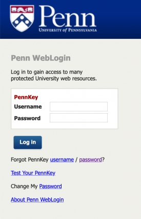 login using your pennkey