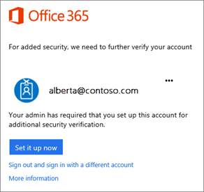 Office 365 two-step screenshot