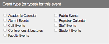 Calendar Events Event Type Field LiveWhale CMS