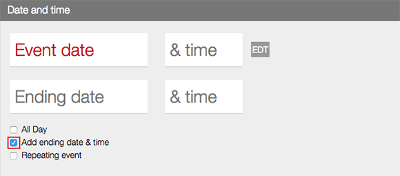 Calendar Events Add Date Field LiveWhale CMS