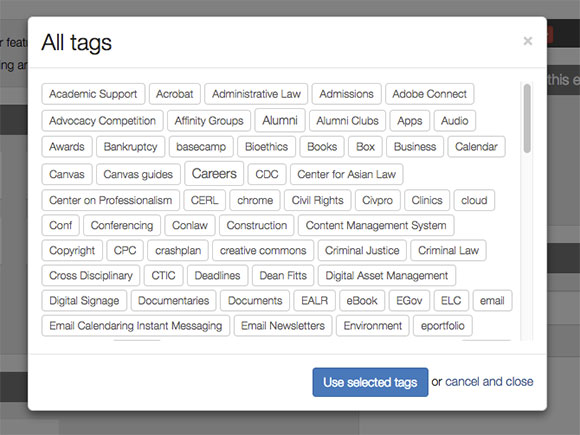 Calendar Events Tags Field LiveWhale CMS