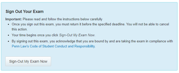 Sign Out Your Exam
